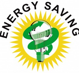 Illustration of lightbulb Energy Saving label done in retro style.