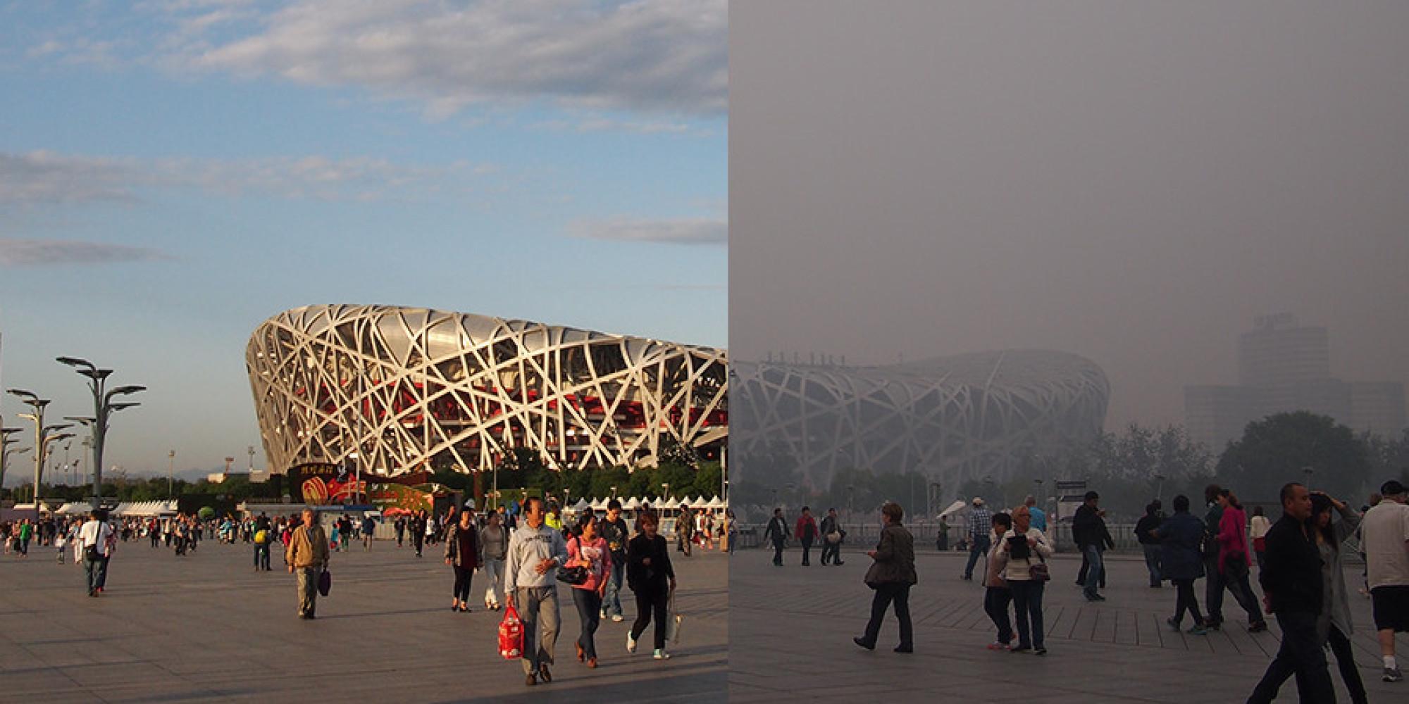 Slika u danu bez i sa velikom količinom zagađenja Kina